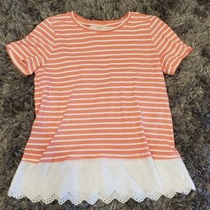 2/$15 EUC Loft Striped Shirt w/Eyelet Lace size L